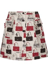 Lanvin Cotton Blend Jacquard Mini Skirt Gray Red