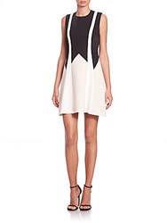Bcbgmaxazria Colorblock Fit And Flare Dress Black White Combo