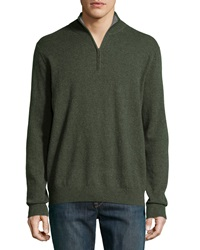Neiman Marcus Zip Front Cashmere Pullover Sweater Ivy