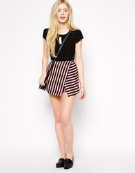 Girls On Film Wrap Skirt In Textured Stripe Pink
