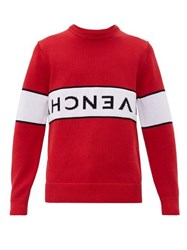 Givenchy Reverse Logo Cotton Sweater Red White
