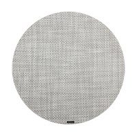 Chilewich Basketweave Round Placemat White Silver