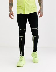 Liquor N Poker Jeans With Neon Piping In Black