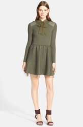 Red Valentino Point D'esprit Trim Ribbed Wool Sweater Dress Military Green