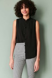Silence And Noise Keri Band Collar Button Down Tank Top Black