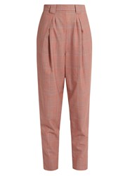 Rachel Comey James High Rise Tapered Leg Wool Plaid Trousers Red Multi