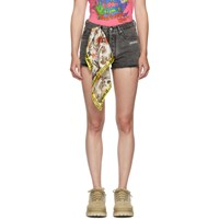 Off White Grey Bleached Silk Scarf Shorts