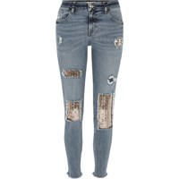 River Island Womens Silver Sequin Alannah Relaxed Skinny Jeans