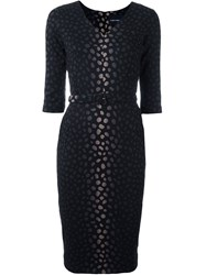Samantha Sung Jacquard Fitted Dress Black
