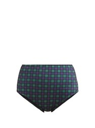 Ephemera High Waisted Tartan Print Bikini Briefs Green Print