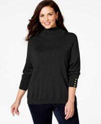 Charter Club Plus Size Button Cuff Turtleneck Sweater Only At Macy's