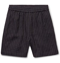 Fanmail Slim Fit Striped Linen Drawstring Shorts Midnight Blue