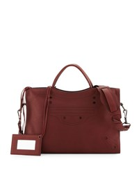 Balenciaga Blackout City Aj Shoulder Bag Sand Bordeaux