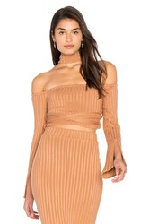 Lavish Alice High Neck Wrap Around Top Tan