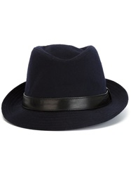 Kiton Leather Band Fedora Hat Blue