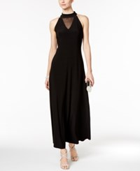 Msk Mock Neck Illusion Gown Black