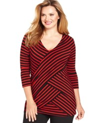 Ny Collection Plus Size Three Quarter Sleeve Striped Tiered Top Red Black
