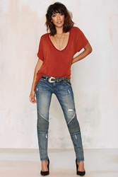 Nasty Gal Cult Of Individuality Roadside Attraction Moto Jean Light Wash