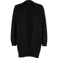 River Island Womens Petite Black Knit Sequin Cardigan