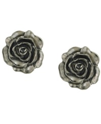 2028 Earrings Silver Tone Jet Enamel Flower Stud