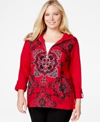 Styleandco. Style And Co. Sport Plus Size Mandala Print Quarter Zip Hoodie Sweatshirt Only At Macy's New Red Amore