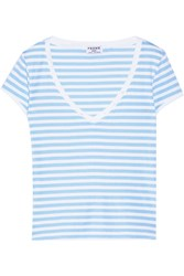 Frame Denim Le Button Striped Stretch Cotton Jersey T Shirt Blue