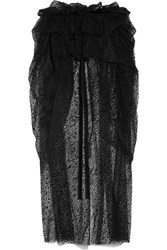 Isa Arfen Layered Flocked Tulle Midi Skirt Black