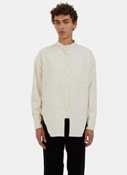 Eckhaus Latta Band Collared Cut Out Felted Shirt Naturals