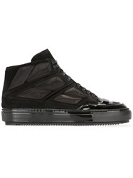 Alejandro Ingelmo Panelled Hi Tops Leather Calf Suede Rubber Lacquer Black