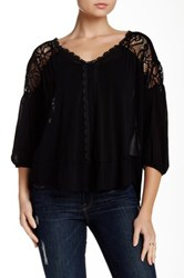 Weston Wear Dahlia Solid Lace Trim Blouse Black