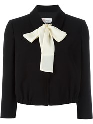 Red Valentino Pussy Bow Cropped Jacket Black