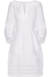 Oscar De La Renta Crochet Trimmed Textured Cotton Blend Dress White