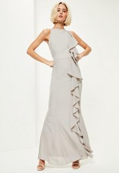 Missguided Grey Frill 90'S Neck Maxi Dress