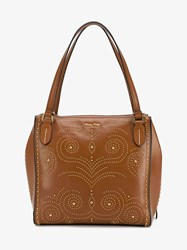 Miu Miu Studded Leather Shopping Bag Brown Leopard Denim Bubbles