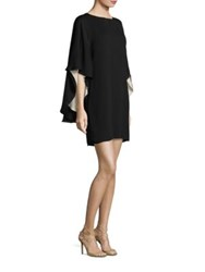 Halston Colorblock Flowy Dress Black Champagne