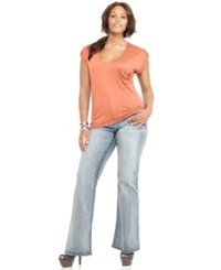Soprano Plus Size Cap Sleeve Ruched Empire Top Peach