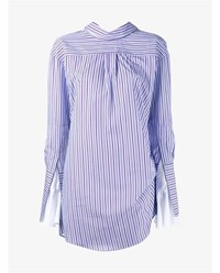 Jacquemus Upside Down Pinstripe Tunic Dress Purple Off White