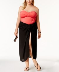 Dotti Plus Size Cover Up Self Tie Pareo Sarong Women's Swimsuit Black