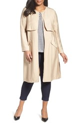 Sejour Plus Size Women's Long Open Front Trench Coat Tan Sesame