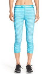 Women's Under Armour Heatgear Print Capris Aqua Blue White Dot Stripe