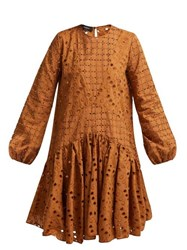 Rochas Broderie Anglaise Cotton Dress Brown