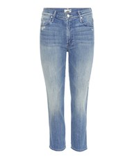 Mother High Waisted Rascal Cropped Jeans Blue