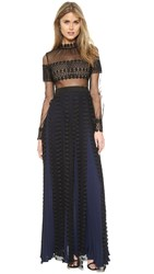 Self Portrait Balloon Sleeve Lace Panel Gown Black