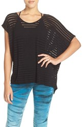 Women's Hard Tail Perforated Jersey Tee Black