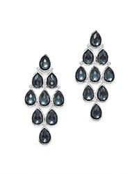 Ippolita Sterling Silver Rock Candy Teardrop Cascade Earrings In Clear Quartz And Hematite Black Silver