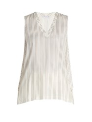 Brunello Cucinelli Striped Silk Top Cream Stripe