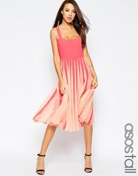 Asos Tall Mesh Insert Square Neck Fit And Flare Midi Dress Pink