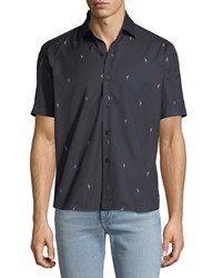Culturata Soft Flamingo Print Shirt Navy