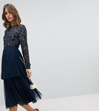 Maya Long Sleeve Sequin Top Midi Dress With Tiered Tulle Skirt Navy