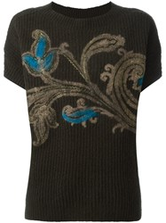 Etro Knitted Floral Print Top Green